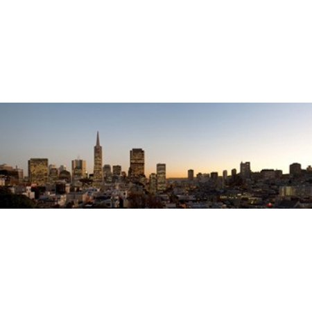 Telegraph Building (Buildings lit up at dusk Telegraph Hill San Francisco California USA Canvas Art - Panoramic Images (18 x 7) )