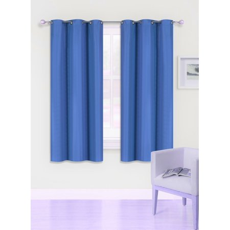 "(SSS) 2-PC Royal Blue Solid Blackout Room Darkening Panel Curtain Set, Two (2) Window Treatments of 37"" Wide x 63"" Length Each Panel"