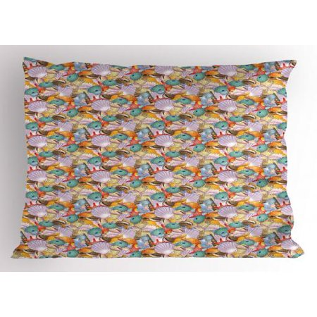 Shells Pillow Sham A Pile of Hand Drawn Seashells Assortment of Various Types Forms of Crustaceans, Decorative Standard Size Printed Pillowcase, 26 X 20 Inches, Multicolor, by Ambesonne - Uncle Sam Assortment