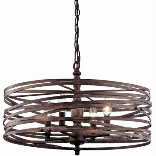 "Miseno SBU143977RT 4-Light Strap Cage Chandelier with 72"" Chain;Weathered Iron"