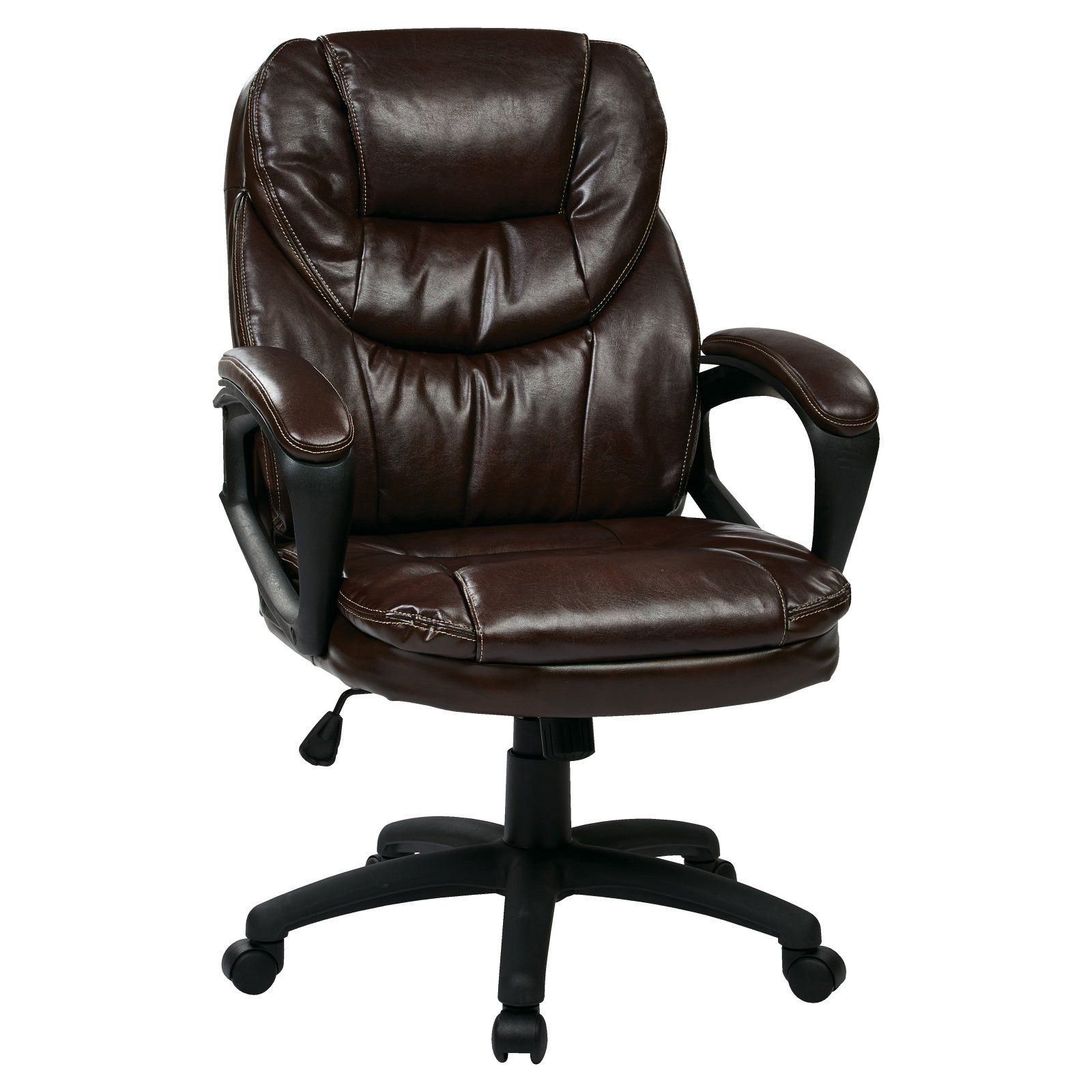 Faux-Leather Executive Swivel Manager's Office Chair with Padded Arms