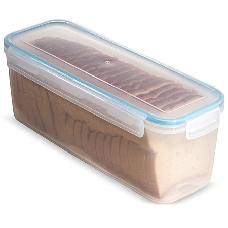 Komax Biokips Narrow Bread Box Container with Tray 118.3 oz. - Airtight, Leakproof With Locking Lid - BPA Free Food Storage Container- Freezer and Dishwasher Safe - Great for Baguette and Rolls