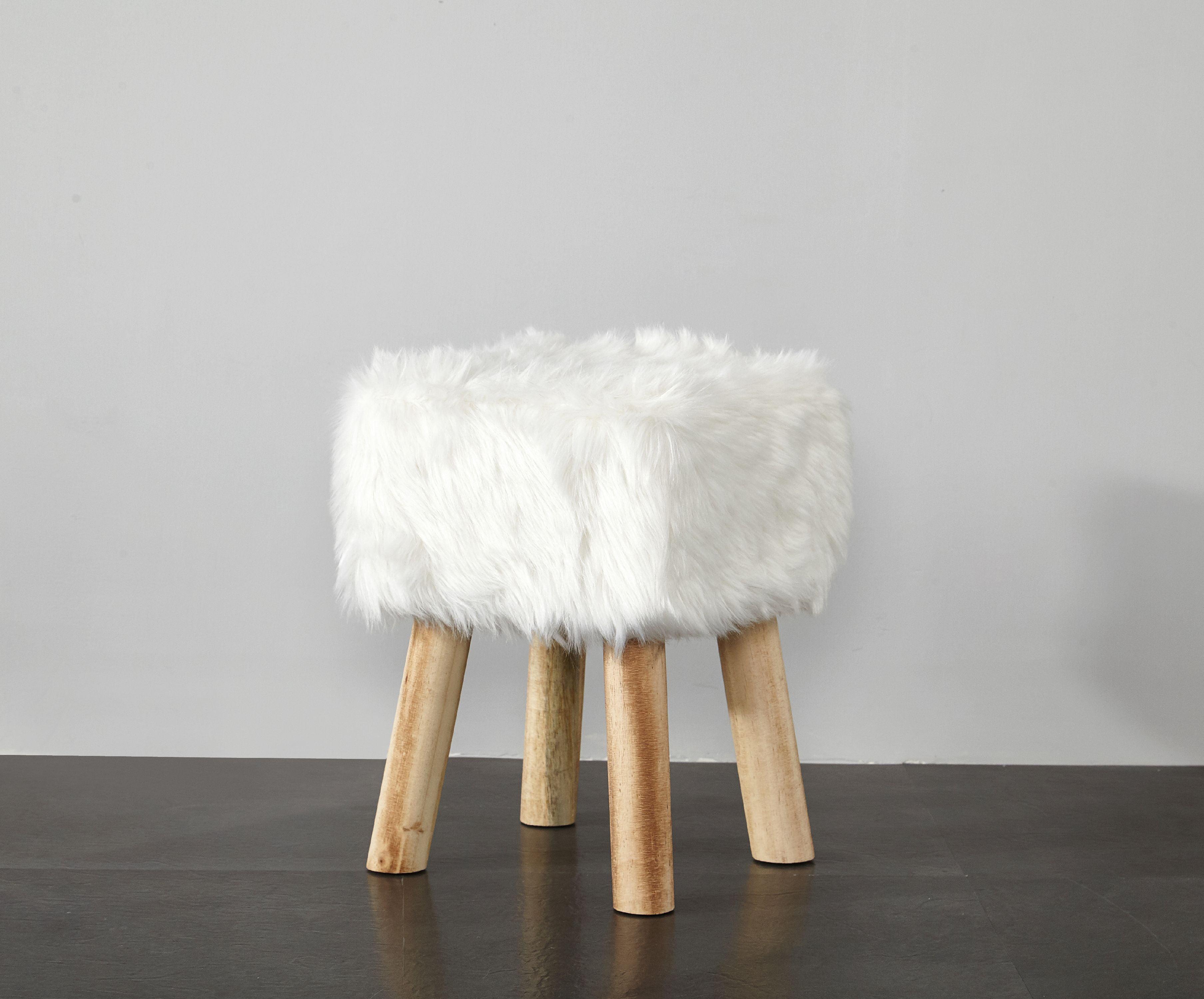 Faux Fur Stool Ottoman Foot Vanity Wood Bench Teen Room