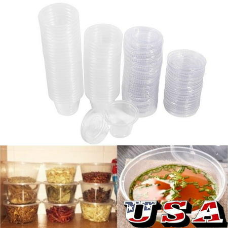 100PCS Disposable Plastic Condiment Sauce Chutney Cup Food Container Storage