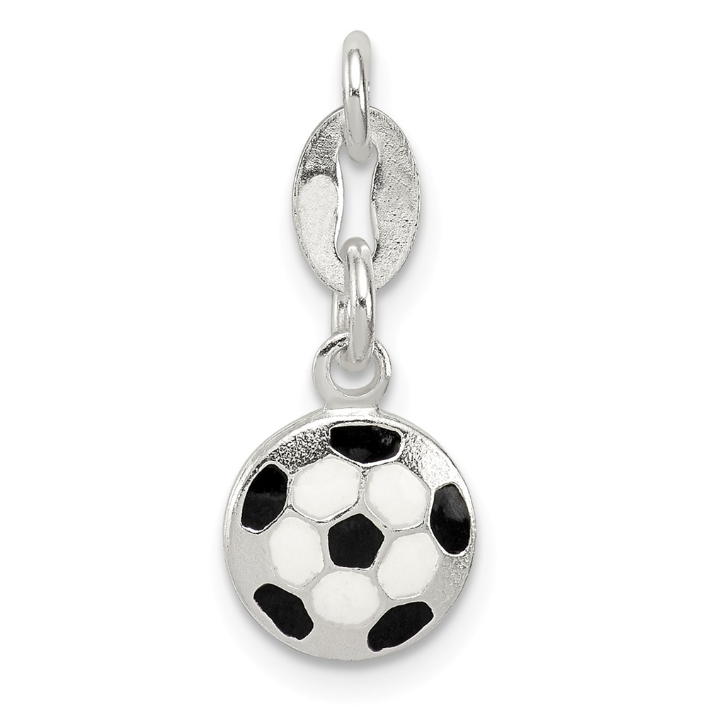 Sterling Silver Enameled Soccer Ball Charm (0.4in)