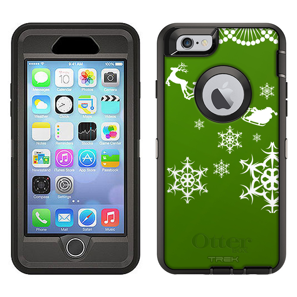 SKIN DECAL FOR Otterbox Defender Apple iPhone 6 Plus Case - White Sleighride on Red DECAL, NOT A CASE
