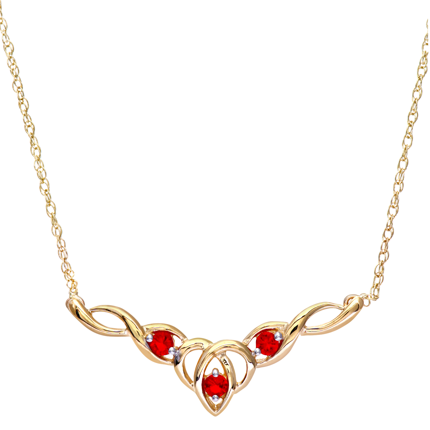 """9ct Yellow Gold Created Ruby Celtic Style Necklace + 18"""" Pow Chain by Revoni"""
