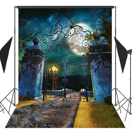 MOHome Polyster 5x7ft Halloween Horror Nights Moon Mysterious Door Costume Party Masquerade Series Photo Backdrops Studio Background Studio Props - Halloween Horror Nights Party