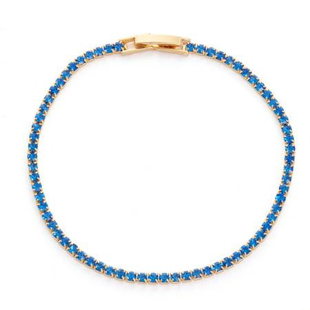 14k Gold Sapphire Bracelet - X & O 14KT Gold Plated Crystal Single Row Bracelet in Sapphire