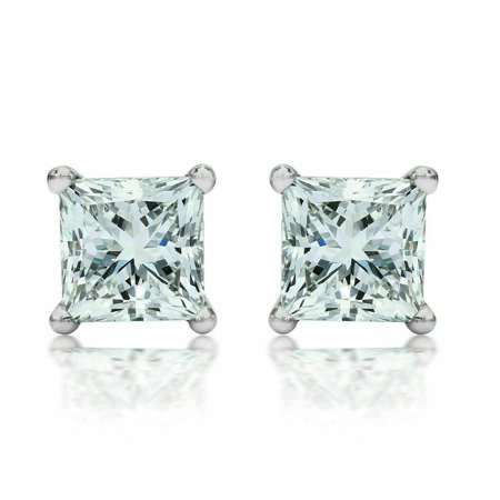 Sterling Silver Clear CZ Stud Earrings Princess Cut Square 10MM 12 Carat Weight