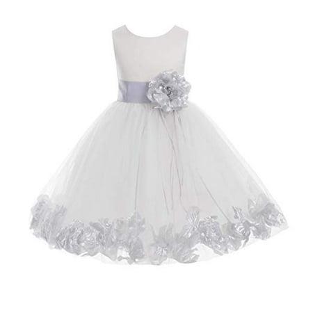 5102f5b8c46 Ekidsbridal Ivory Tulle Floral Rose Petals Formal Flower Girl Dress Wedding  Tulle Dress Junior Bridesmaid Dress Holy Baptism Dress First Communion Dress  ...