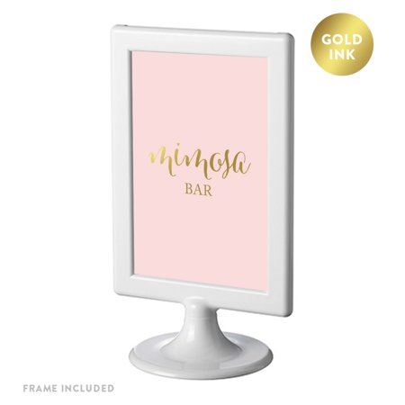 Framed Party Signs, Blush Pink with Gold Ink, 4x6-inch, Mimosa Bar Sign, Double-Sided - Diy Mimosa Bar