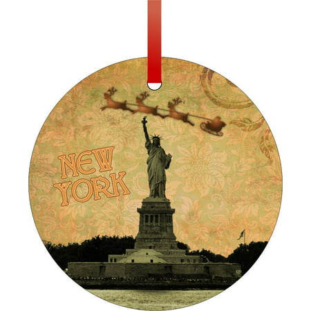 Vintage Style Santa and Sleigh Riding Over The Statue of Liberty - New York - Rosie Parker Inc. TM - Double-Sided Round-Shaped Flat Aluminum Christmas Holiday Hanging Ornament Made in the USA! Santas New Sleigh