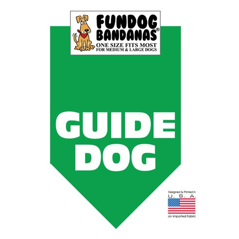 Fun Dog Bandana - Guide Dog - One Size Fits Most for Med to Lg Dogs, kelly green pet scarf