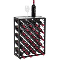 Best Choice Products 32-Bottle Wine Rack Liquor Storage Cabinet w/ Glass Table Top - Black