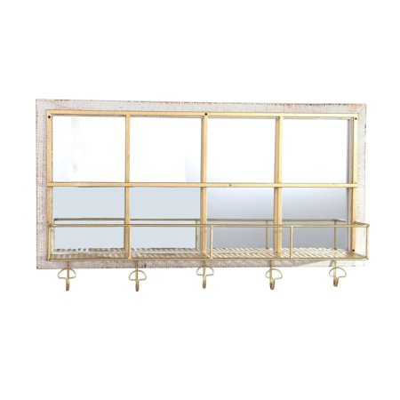 Benzara Metal and Wooden Wall Shelf with Five Hooks and Glass Panels, Brown and Gold
