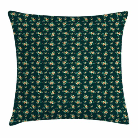 Kites Throw Pillow Cushion Cover, Ornamental Kites Background Air Toy Hovering in Wind Illustration, Decorative Square Accent Pillow Case, 18 X 18 Inches, Hunter Green Pale Yellow Coral, by -