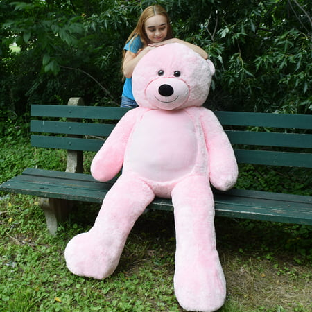 WOWMAX 6 Foot Giant Huge Life Size Teddy Bear Danny Cuddly Stuffed Plush Animals Teddy Bear Toy Doll for Birthday Christmas Pink 72 Inches (Pit Bull Stuffed Animal)