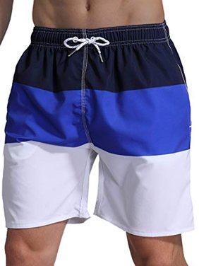 LELINTA Mens Swim Trunks Watershort Swimsuit Board Colorblock Shorts Bathing Suits Elastic Waist Drawstring