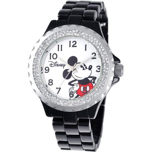 Disney Mickey Mouse Women's Enamel Sparkle Watch, Black Bracelet