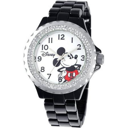 Mickey Mouse Women's Enamel Sparkle Watch, Black Bracelet