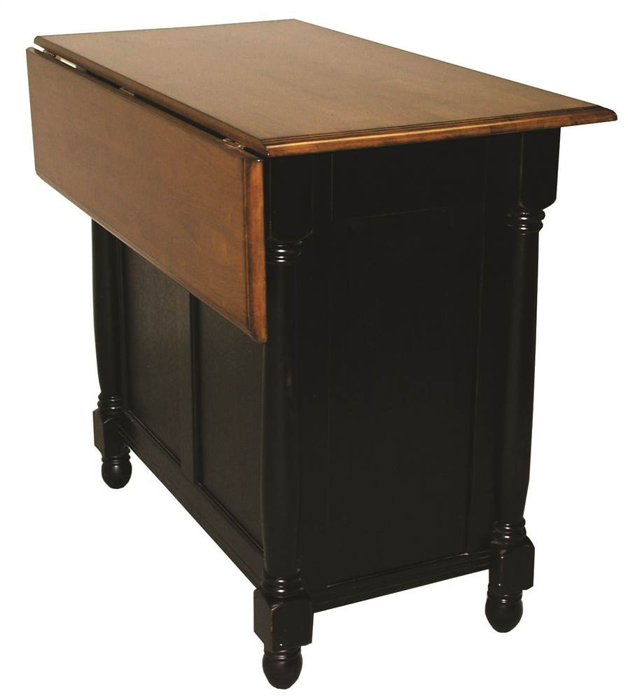 Kitchen Island in Distressed Antique Black and Cherry ...