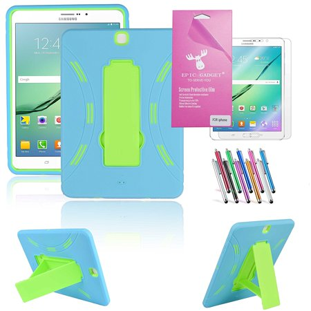 "Galaxy Tab S2 9.7"" Case, Epicgadget (TM) Heavy Duty Hybrid Case With Built in Vertical Kickstand for Galaxy Tab S2 9.7"" T817 T810 T815 With Screen Protector + Pen (Blue/Green)"