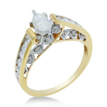 Ladies Diamond Engagement Ring Marquise Cut 14K Yellow Gold 0.50 twt Size 7 6.2g