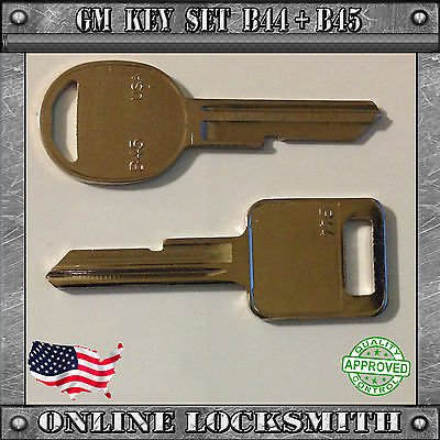 KEY SET B44 IGNITION E + B45 DOORS TRUNK H KEY Buick Cadillac Chevrolet Pontiac