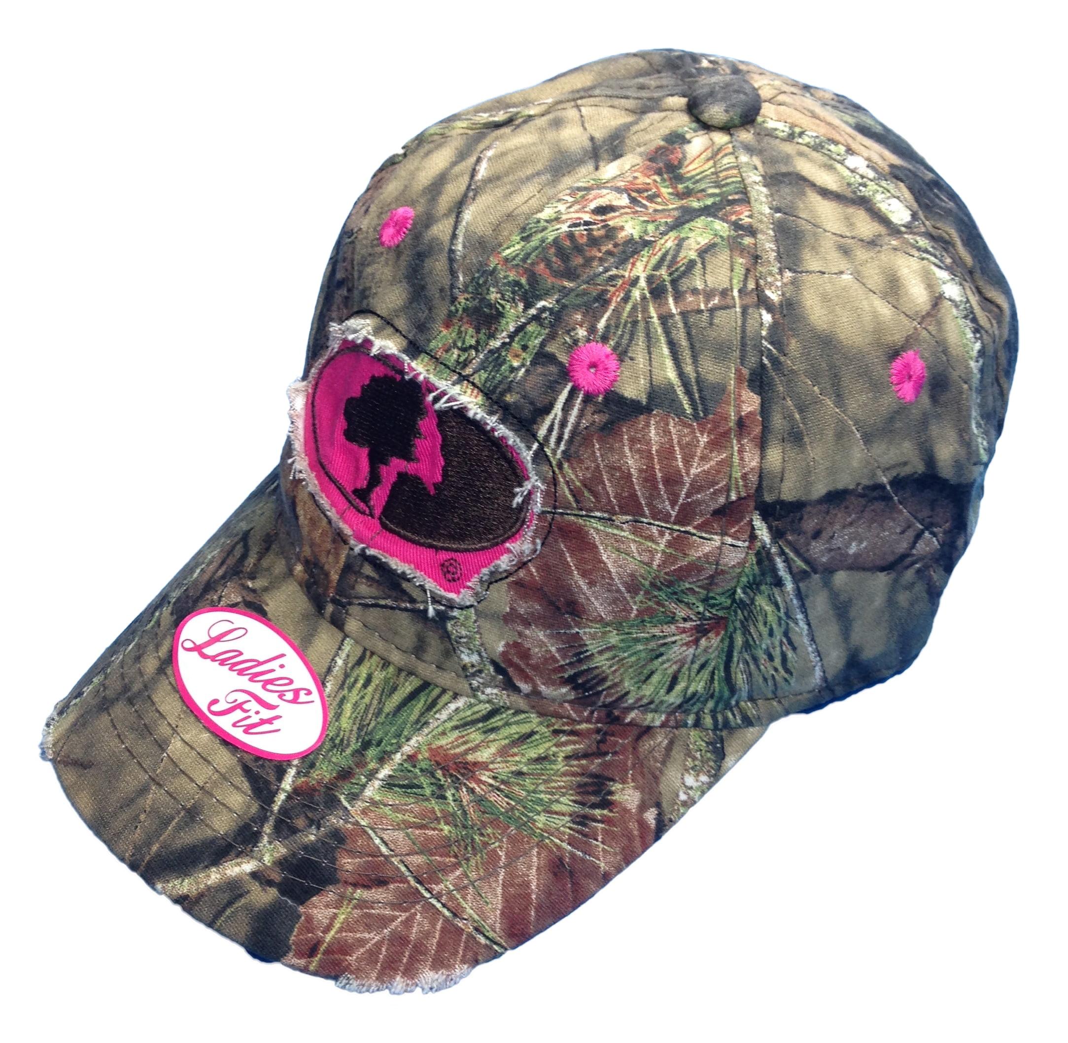 BT Outdoors Camo Cutie Cap,Mossy Oak Camo Cap with pink Trim and logo