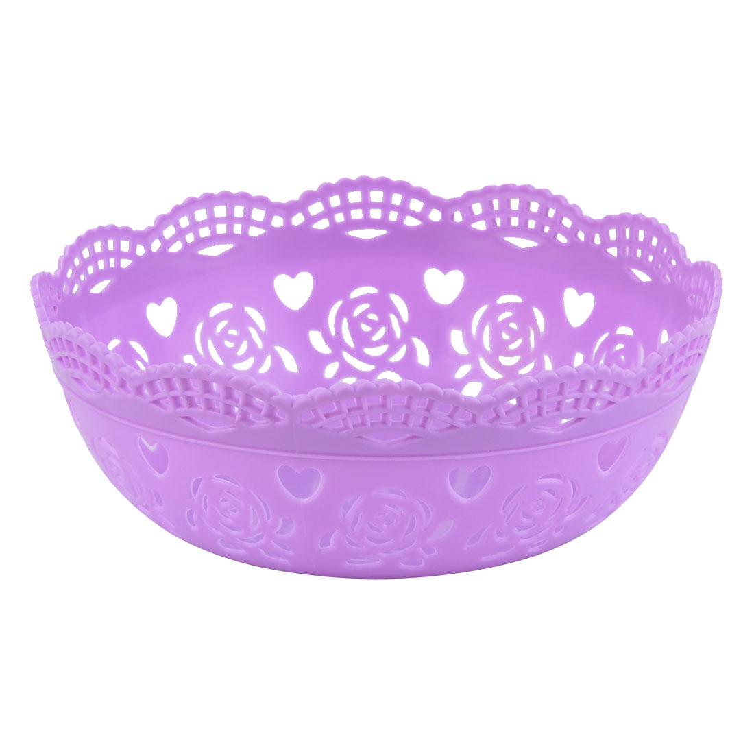 Kitchen Plastic Flower Designed Hollow Out Fruit Vegetable Storage Basket Purple