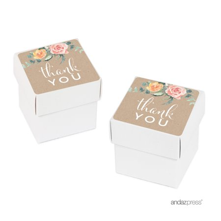 Peach Rustic Floral Garden Party, Baby Shower Thank You, 20-Pack Favor Box DIY Kit