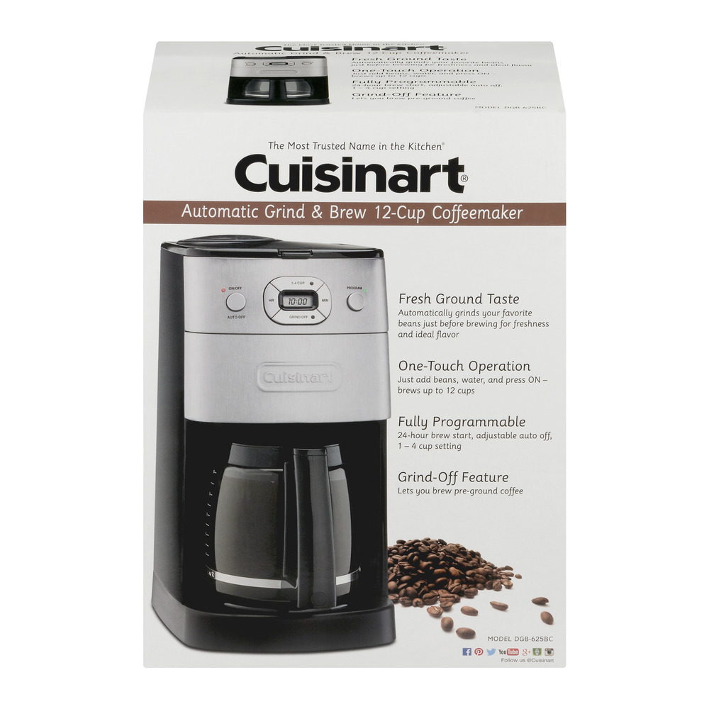Cuisinart Grind-and-Brew 12-Cup Automatic Coffeemaker, Brushed Metal DGB-625BC
