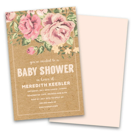 Personalized Vintage Floral Personalized Baby Shower Invitations (Zebra Print Baby Shower Invitations)
