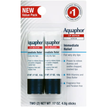 Aquaphor Lip Repair Stick - Soothes Dry Chapped Lips - Two(2) .17 oz.