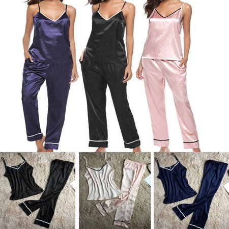 2PCS Women Lady Silk Satin Pajamas 2PCS Sets Pyjama Sleepwear Nightwear Loungewear Homewear (Women Navy Striped Pj)