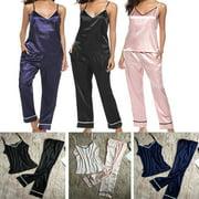 2PCS Women Lady Silk Satin Pajamas 2PCS Sets Pyjama Sleepwear Nightwear Loungewear Homewear