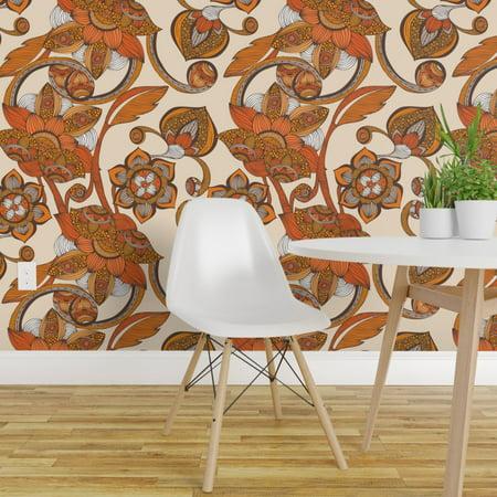 Peel and Stick Removable Wallpaper Orange Boho Flowers Floral Ornate Botanicals