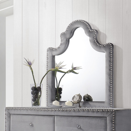 Meridian Furniture USA Sophie Velvet Arched Dresser Mirror