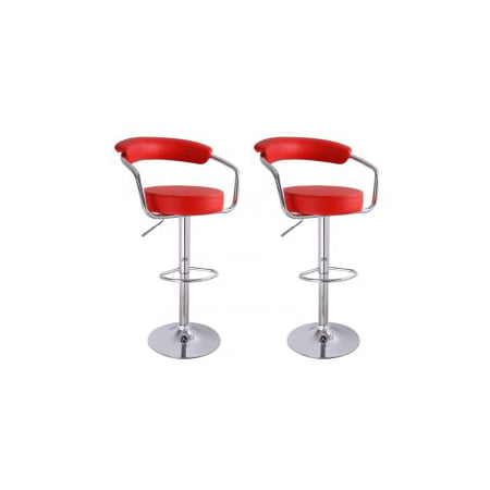 Homebeez PU Leather Cushioned Adjustable Barstool Chair, Curved Back, Chrome Arms Pedestal Base (Set of two) (Red)