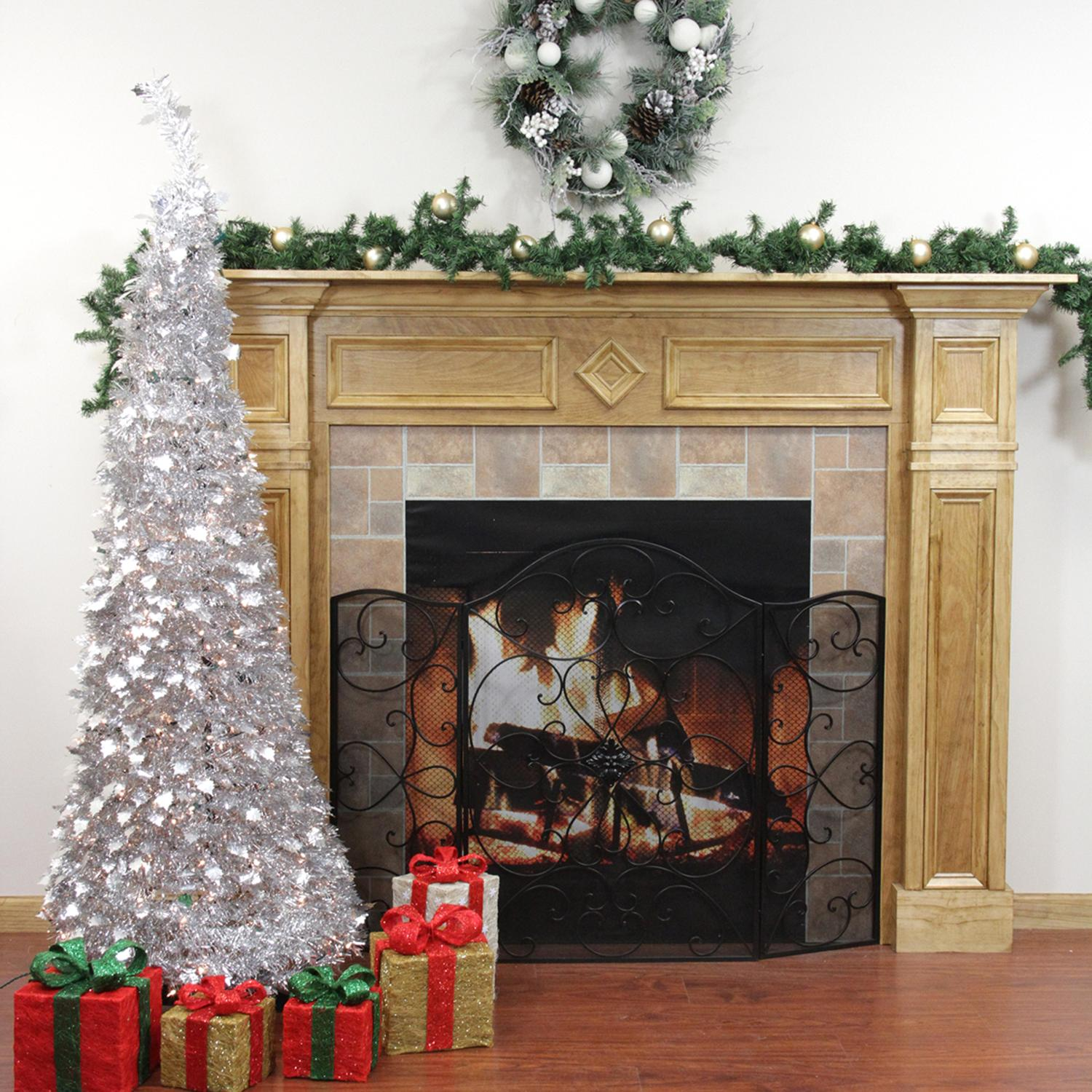 6' Pre-Lit Pop Up Silver Tinsel Artificial Christmas Tree - Clear Lights