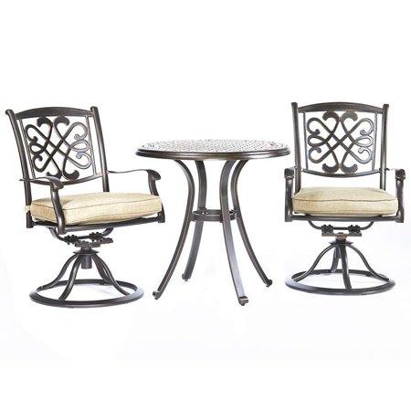 Phenomenal Dali 3 Piece Bistro Set Cast Aluminum Dining Table Patio Glider Chairs Garden Backyard Outdoor Furniture Machost Co Dining Chair Design Ideas Machostcouk