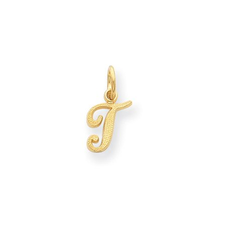 14k Initials Charm - The Sadie 14k Yellow Gold Mini Satin Script Initial Charm, Letter T