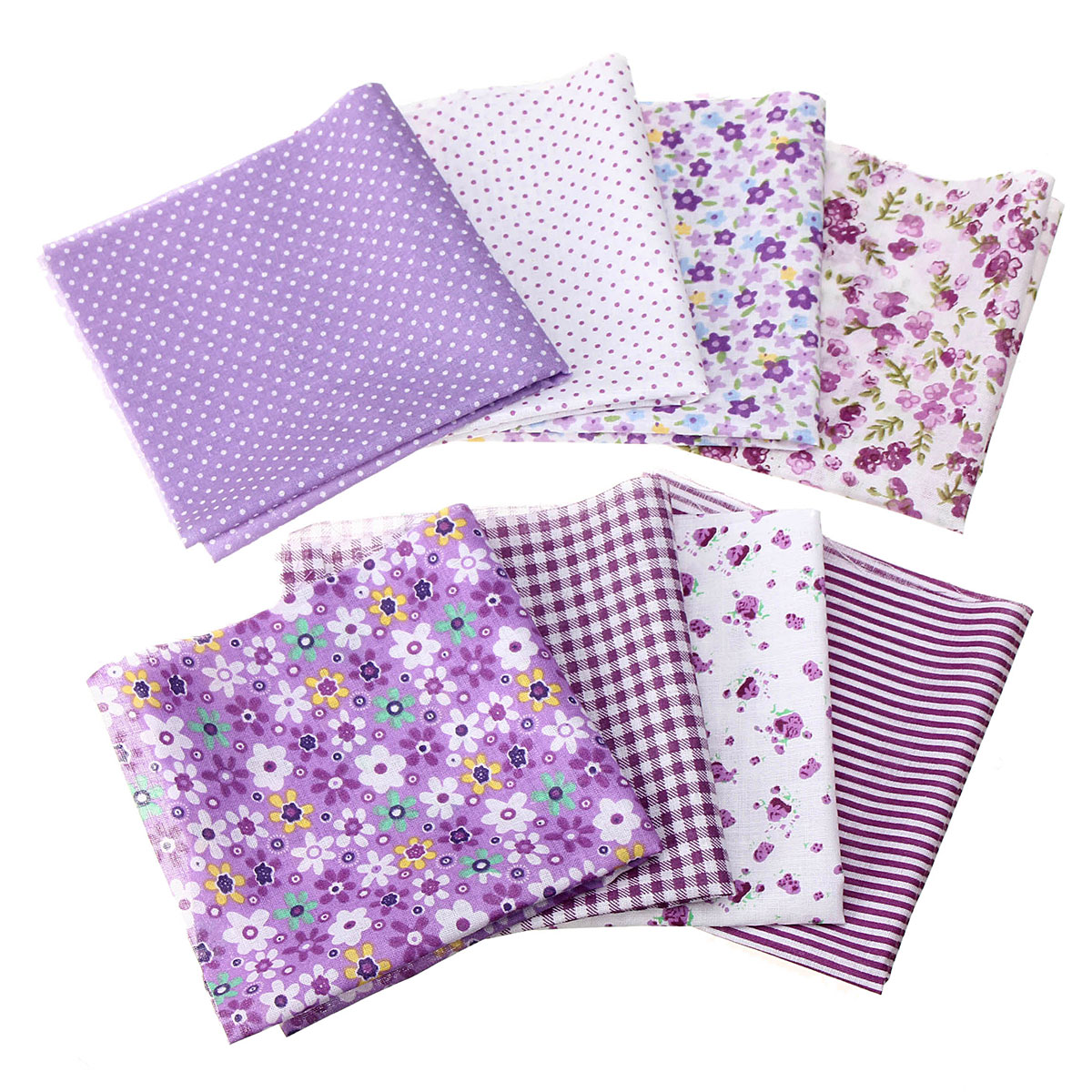8x Patchwork Fabric Pre Cut Square Charm Quilting Remnant Cotton DIY Hand Craft