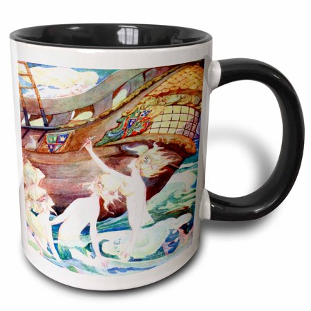 3dRose Mermaids And Wooden Ship - Two Tone Black Mug, 11-ounce ()