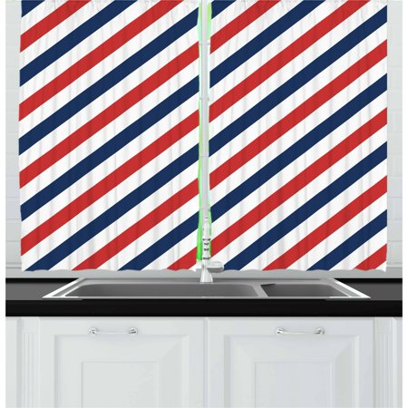 Harbour Stripe Curtains 2 Panels Set, Vintage Barber Pole Helix of Colored Stripes Medieval Contrast Design, Window Drapes for Living Room Bedroom, 55W X 39L Inches, Blue Red White, by Ambesonne