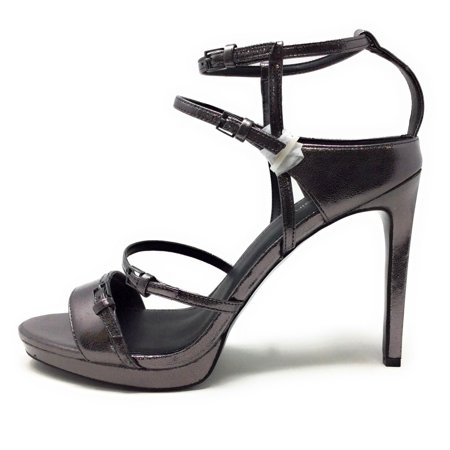 Calvin Klein Womens Shantell Heeled Dress Sandal Metallic Gunmetal Grey Size 9.5