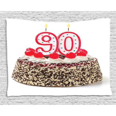 90th Birthday Decorations Tapestry, Birthday Cake with Cherries Burning Candles Number Ninety, Wall Hanging for Bedroom Living Room Dorm Decor, 60W X 40L Inches, Red Brown White, by Ambesonne