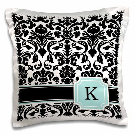 Monogram Mint Olive (3dRose Letter K personal monogrammed mint blue black and white damask pattern - classy personalized initial - Pillow Case, 16 by 16-inch )