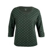 Karen Scott Women's Tab-Sleeve Polka Dot Top